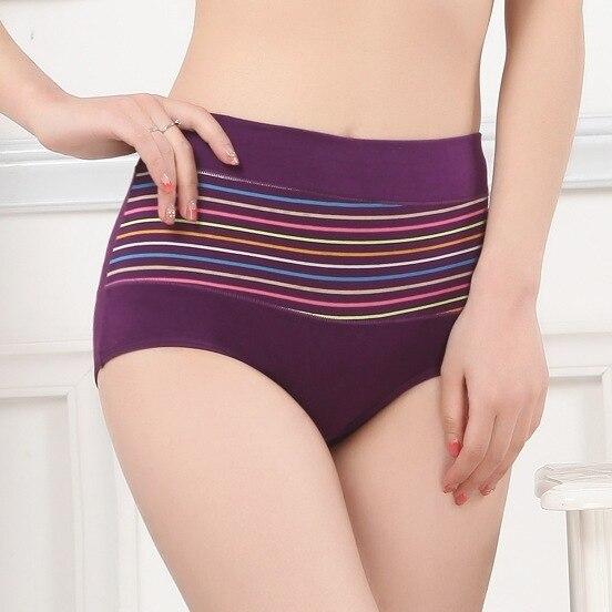 5pcs/lot 2016 New style Sexy Stripe Cotton Women Underwear high quality Soft High Waist Cotton Underwear Briefs Free Shipping