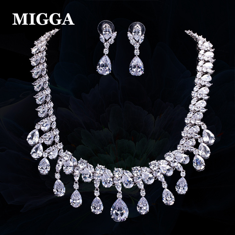 MIGGA Luxury Cubic Zirconia Water Drop Tassel Necklace Earrings Bridal Jewelry Set Wedding Engagement Dress цена 2017