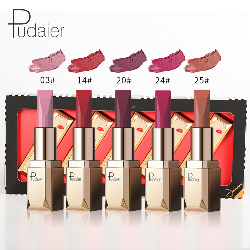 Miss Rose New Pop 5pcs/set Matte Lipstic Nude Long Lasting Waterproof Sexy Red for Lip Tint Woman Makeup Cosmetic Kit