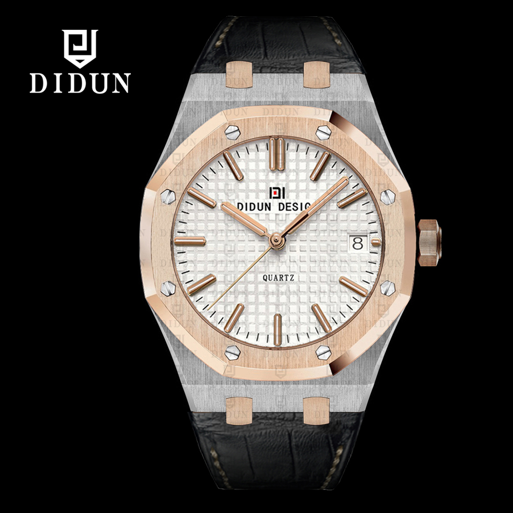 font b Watch b font Men DIDUN Top Brand Leather Quartz font b Watches b