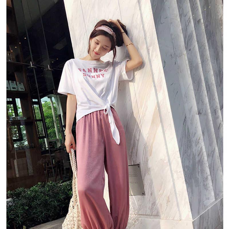 Mishow nữ mùa hè 2019 thư màu hồng họa tiết Bộ quần 2 miếng Áo Dạo Phố ngắn TEE mắt cá chân-Chiều dài Hậu Cung quần MX18B0156