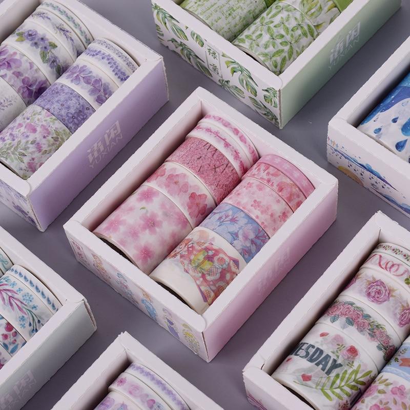 10 Pcs/Box Fantasy Ocean Beautiful Flowers Plant Washi Tape Diy Decoration For Scrapbooking Masking Tape Adhesive Tape