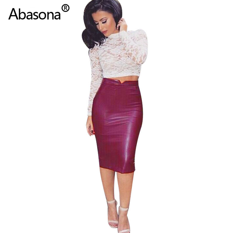 Women Pu Leather Skirt Autumn Streetwear Casual Office Work Wear Bodycon Pencil Skirt High Waist Long