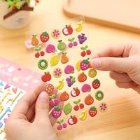 100pcs/lot 2017 New Arrival Mobile Phone stickers 7cm*19cm Cute 3d Cartoon Transparent Animal/fruit/alphanumeric Bubble
