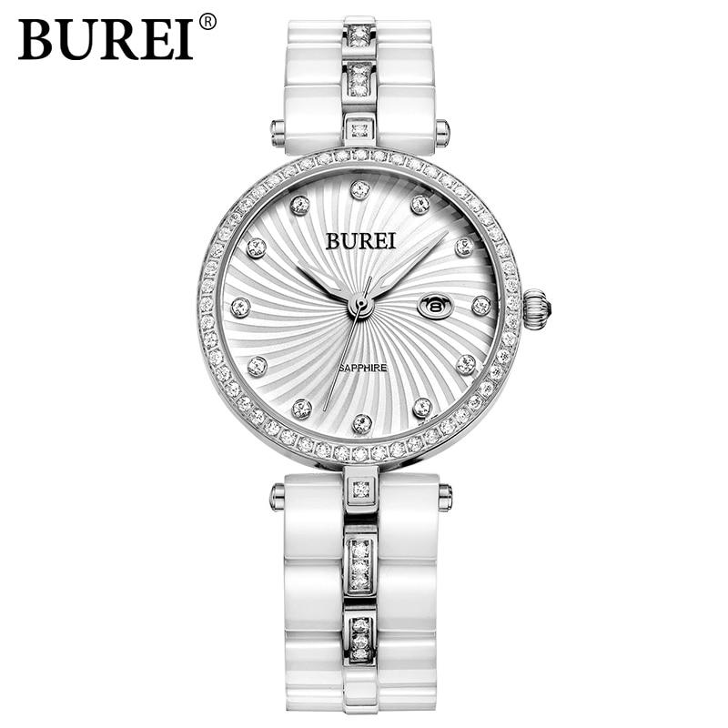 Famous brand BUREI ladies Casual watch Women Watch with Diamonds Ceramic Bracelet Quartz Wristwatch female Business clock hours burei imported movement casual women quartz watch