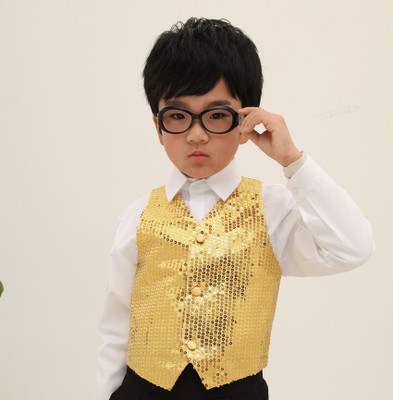 Children sequins suit vest performance clothing vests sequins vest performance children s children s sequins jazz dance cloth