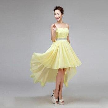 2017 new bridesmaid dress chiffon with crystal low high short front long back yellow elegant sleeveless.jpg 350x350