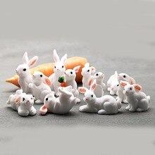 1 шт., 12 стилей, милый мини-кролик, пасхальное украшение, миниатюрный заяц, фигурка животного, смола, ремесло, мини-кролик, садовый орнамент