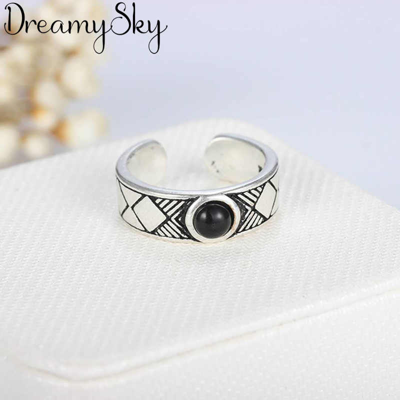 New Trendy Bohemian 925 Sterling Silver Black Rings For Women Girls Gift Vintage Large Engagement Ring Anillos Anelli