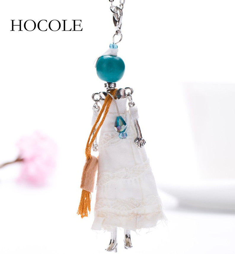 Fashion Sweet French Doll Princess Necklace Cloth White Dress Long Silver Chain Pendant Maxi Necklaces Jewelry for Womens Girls