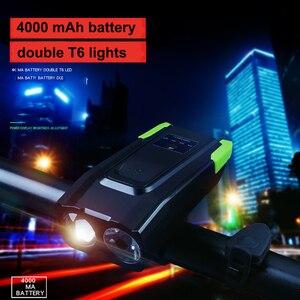 Dropshipping 800lm led bicicleta/bicicleta/conjunto de luz frente farol/lanterna ciclismo lâmpada usb recarregável luz da cauda com sino