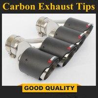 1 Pair: Inlet 63mm Outlet 114mm Akrapovic Carbon Fiber Exhaust Tips Muffler Blue Burnt Stainless Steel Car Exhaust Muffler Pipe