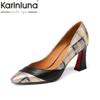 Karinluna Genuine Leather Large Size 33 43 Square High Heels Shoes Woman Black Slip On Party