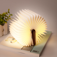 Creative LED Magnetic Foldable Wooden Book Lamp Night Light Desk Lamp USB Rechargeable Table Lights for Home Decoration Lighting