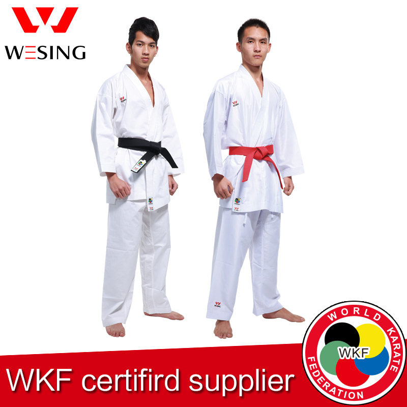 Wesing karate gi kumite adultos niños karate unifomr kata gi para la formación de la competencia aprobado por la WKF