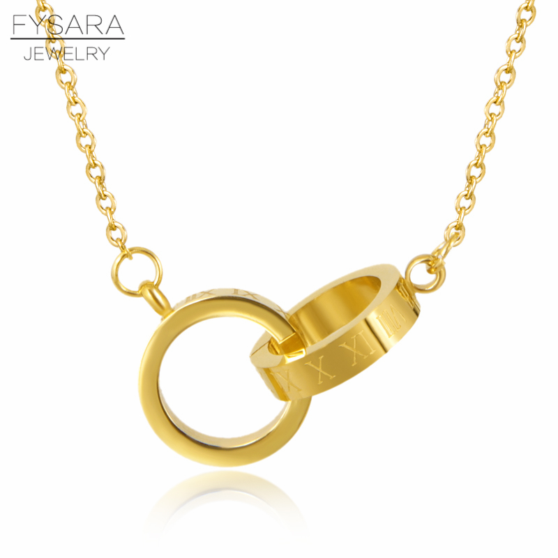FYSARA Classic Brand Love Two Circle Double Buckle Necklace Roman Numeral Pendant Necklace Female Stainless Steel Gold Clavicle