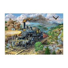 5D DIY Diamond Painting Full Round Mosaic Train Embroidery Sale Cartoon