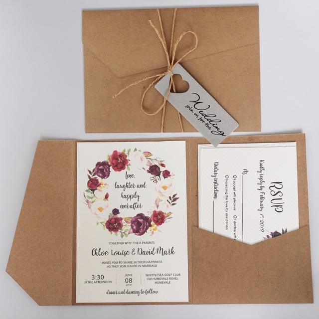 Vintage Pocket Wedding Invitations Rustic Invitation Cards Customized Invited With Kraft Paper Envelope