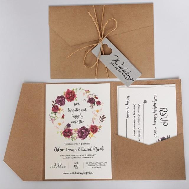 Vintage Pocket Wedding Invitations, Rustic Invitation Cards