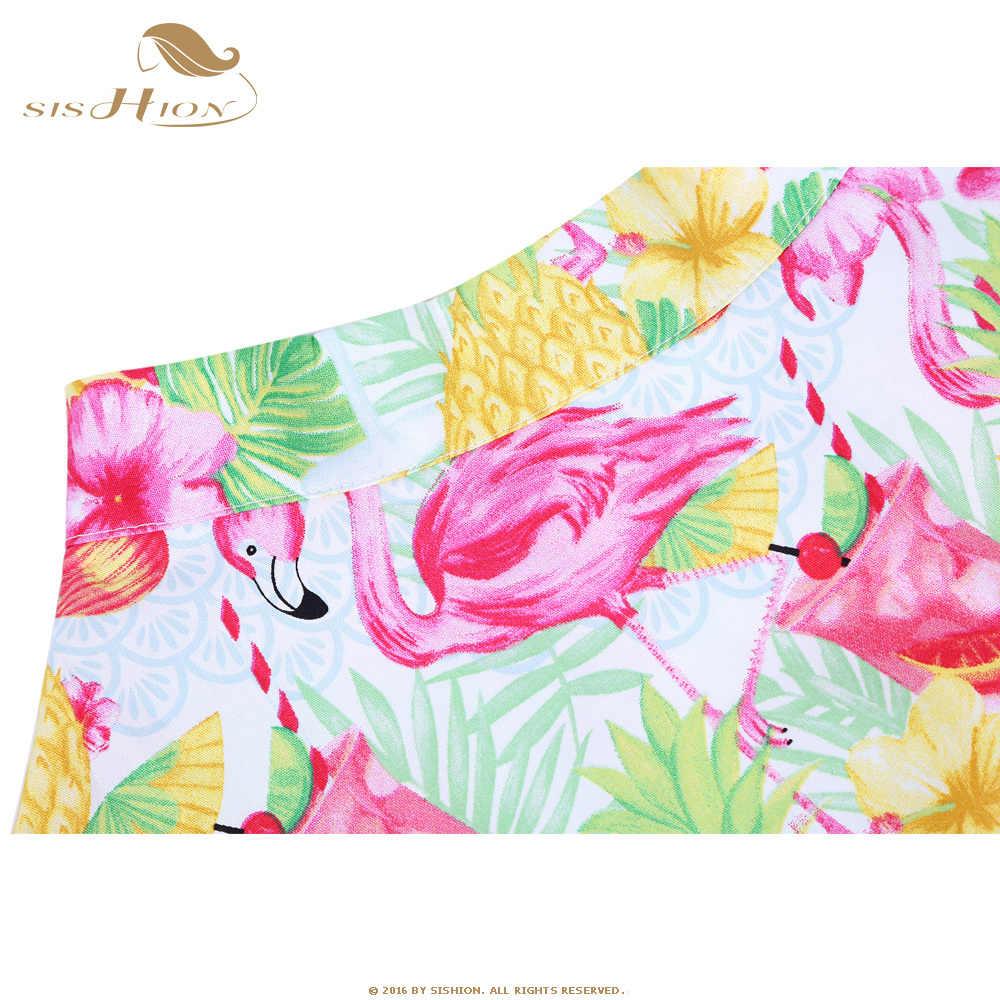 ... 50s 60s Swing Skirt Flower Pineapple Flamingo Floral Print Cotton  Rockabilly Retro Vintage Skirts High Waist ... 2067dac33a0e