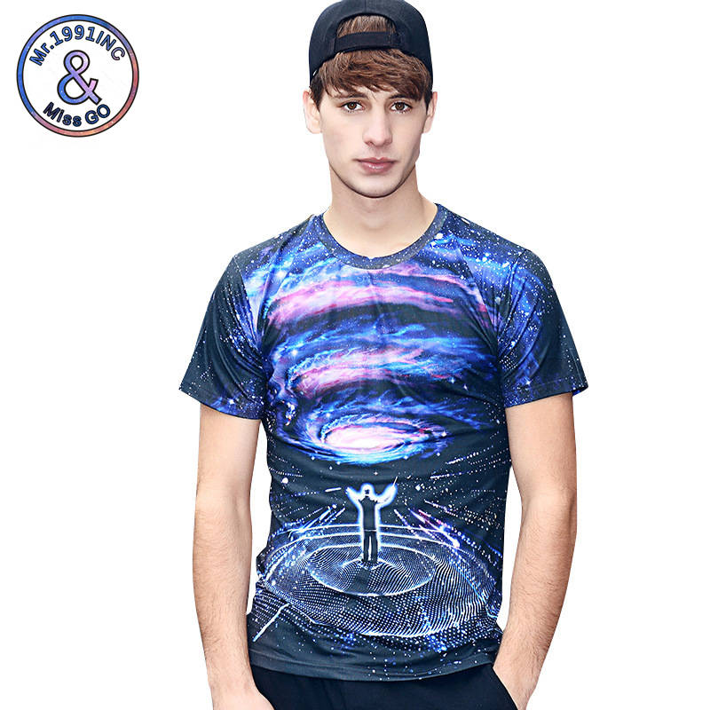Mr.1991INC 3D Lifelike Print Short Sleeves 2018 New Style Mens Tops Tees Starry Sky Cantor Printing T-shirt Tide Card Shirts