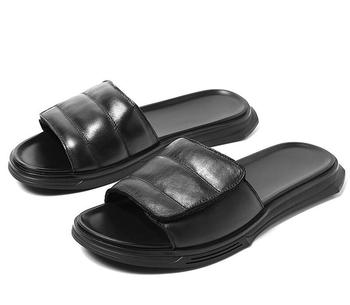Summer Fashion Leather Men Slippers Outdoor Shoes Flat Slipper Rome Breathable Beach Slipper Male