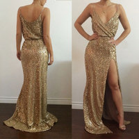 Summer Women Party Dress Sexy Strap V Neck Rose Gold Sequin Night Club Dress Side High Slit Bodycon Vestidos Girls Long Dresses