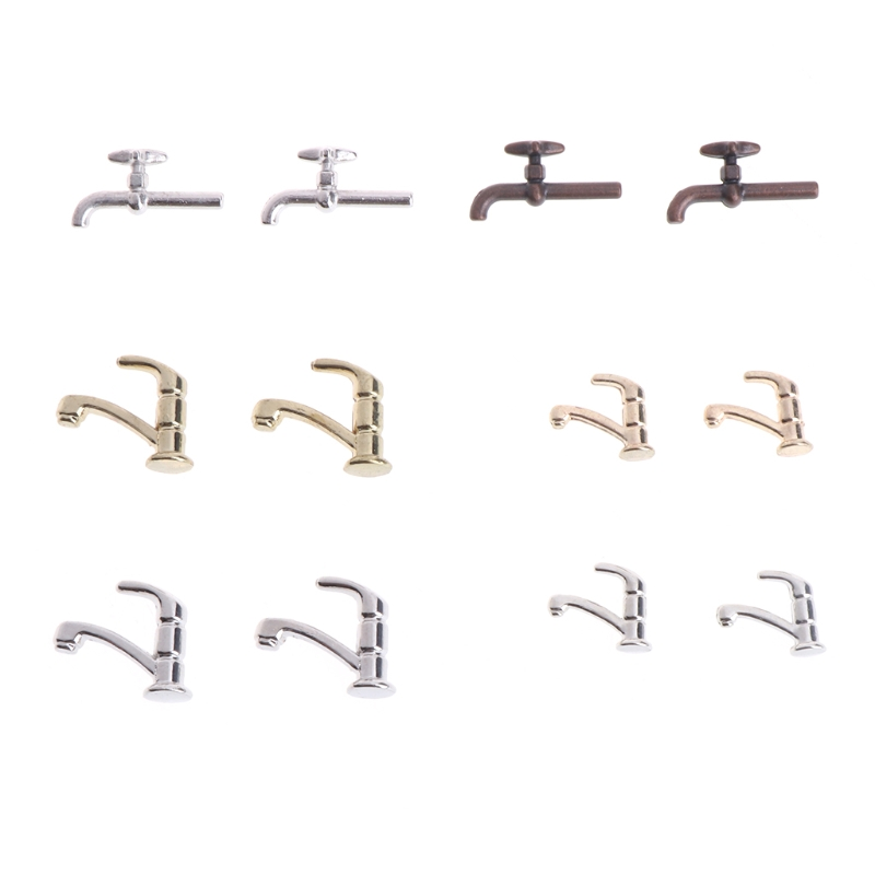 2PCS 1:12 Miniature Metal Water Tap Bathroom Accessories Faucet Dollhouse  2PCS 1:12 Miniature Metal Water Tap Bathroom Accessories Faucet Dollhouse
