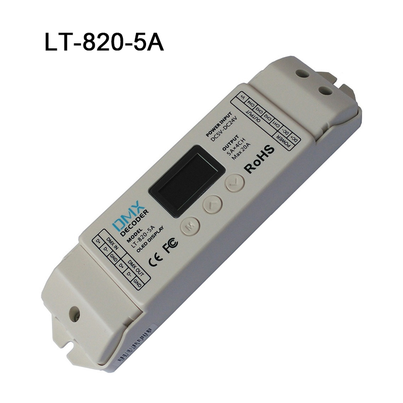 LT-820-5A LTECH DMX512 decoder RGBW controller dmx signal driver led dmx rgbw dimmer with a OLED display for 5050 3528 strip ltech r4 cc zone constant current receiver dmx512 decoder led receiving controller dmx signal driver 2 4g wireless led dimmer