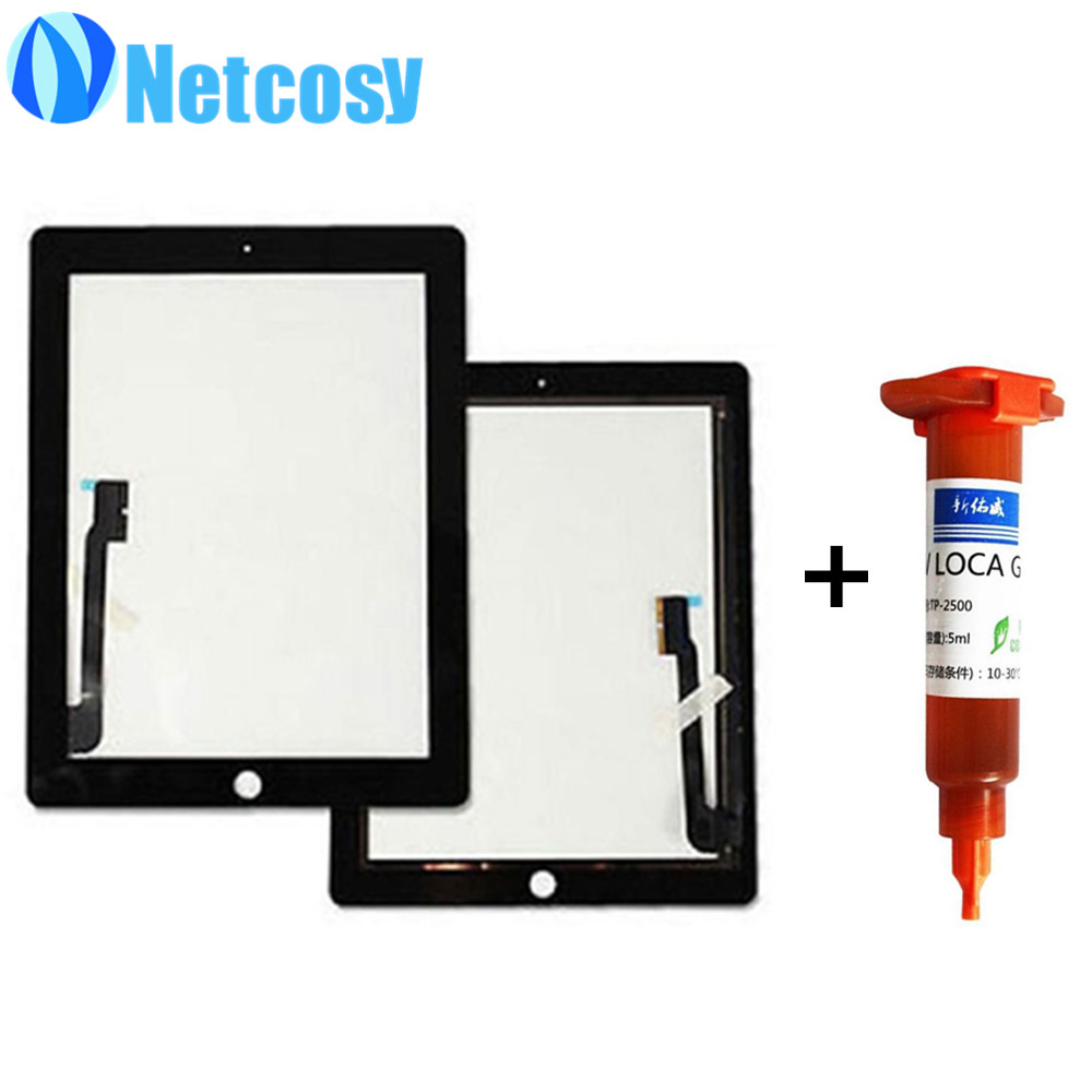 For ipad 3 / 4 Black & White Touch Screen Glass Digitizer Replacement parts for iPad 3 & 4 Tablet touch panel+5mL UV Glue replacement glass touch screen digitizer for oppo x909 black