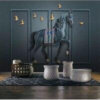 Benutzerdefinierte Wand Tuch Retro Relief Geprägte Pferd Bildschirm Tapete Für Wohnzimmer Büro Wand Home Decor Wandbild Papel De Parede 3D|Stoff & Textile Wandbekleidungen|   -