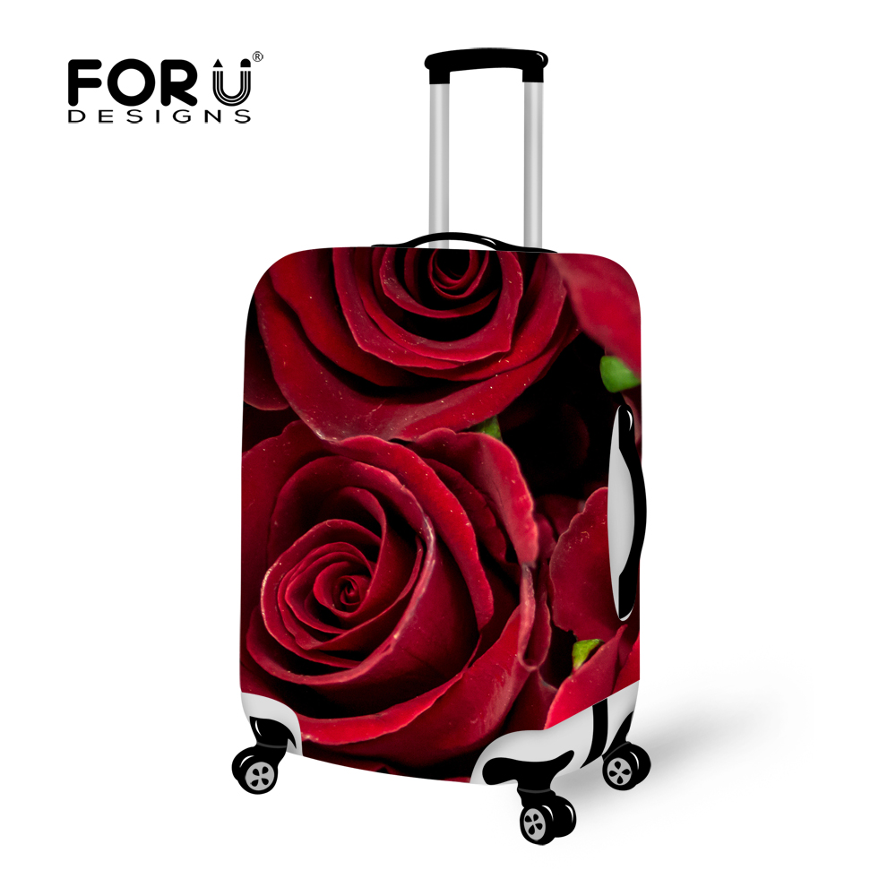 FORUDDESIGNS Thick Waterproof Luggage Protective Cover S/M/L Red 3D Rose Travel Suitcase Rain Covers For 18-30 Inch Trolley Case