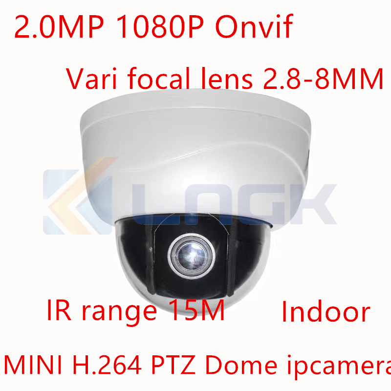 2.0MP 1080P H.264 mini PTZ IP dome camera 2.8-8MM 3X Auto Zoom IR 15M night vision p2p Onvif Network PTZ dome surveillance cam 4 in 1 ir high speed dome camera ahd tvi cvi cvbs 1080p output ir night vision 150m ptz dome camera with wiper