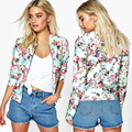 women Coat short Jackets 3D Print Flowers Spring Autumn Fashion Casual Bomber Lady Clothes Outwear DM#6