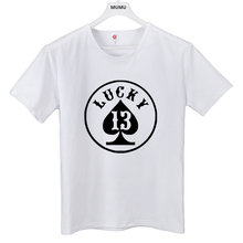 summer Men TShirts Fashion Lucky NUMBER 13 men short Sleeve t shirts High Quality Hipster Cool Male Tops Tee