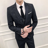 Men'S Suit Three Piece High Quality Plaid Slim Wedding Dress Suit Tweed Dress (Suit Jacket + Pants + Vest)