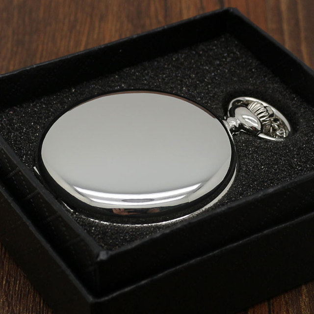Smooth Black/Silver Case Quartz Pocket Watch Full Hunter Gift Box Women Men Fob Watch Clock Arabic Wholesale relogio de bolso