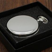 YISUYA Smooth Black/Silver Case Quartz Pocket Watch Full Hunter with Gift Box Women Men Fob Watch Clock Xmas Gift Wholesale