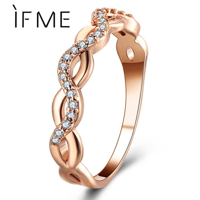 IF ME Classic Charms Crystal Infinity Rings For Women Gold Silver Color Hollow W