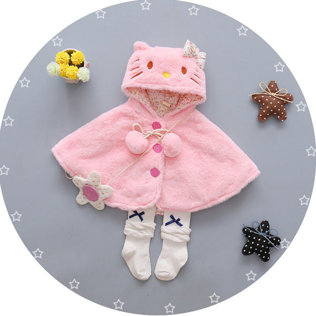 Fleece Baby clothes Cute Kids Baby Girls Thick Coat Hooded Cloak Ponco Jacket Outwear cartoon Kitty