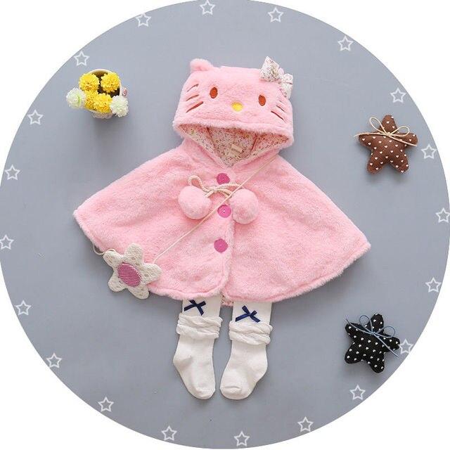 Fleece quần áo Trẻ Em Dễ Thương Trẻ Em Bé Gái Dày Áo Khoác Chiếc Áo Choàng Trùm Đầu Ponco Áo Khoác Outwear phim hoạt hình Kitty