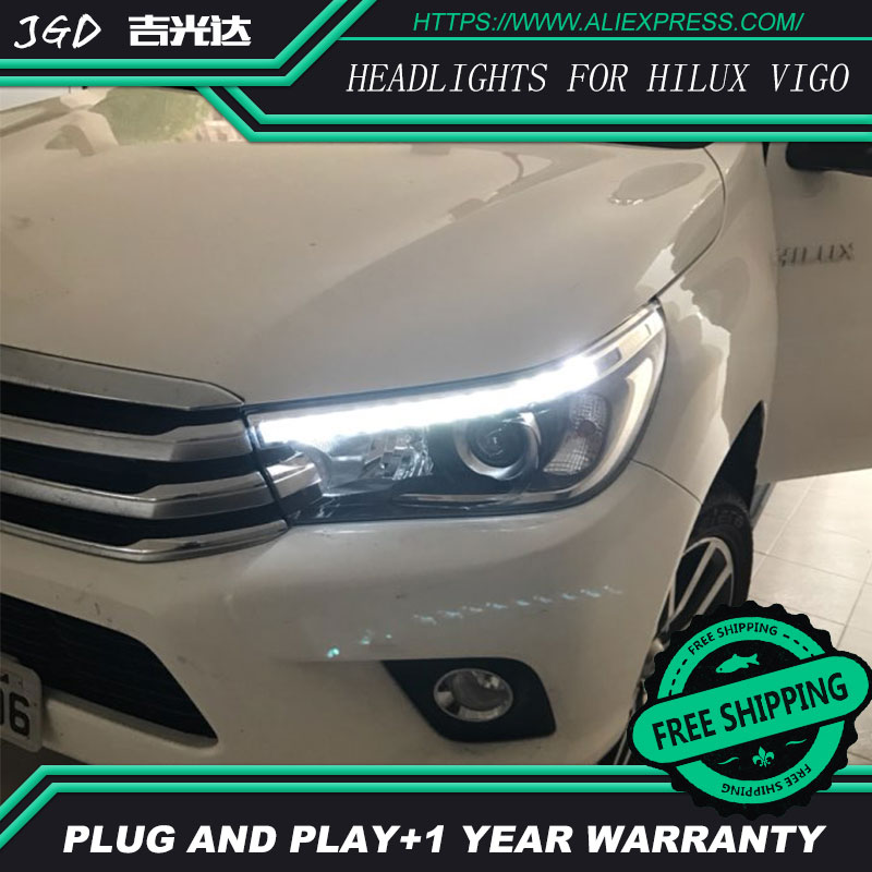 Free shipping ! Car styling LED HID LED headlights Head Lamp case for Toyota Hilux Vigo 2016 Bi-Xenon Lens low beam auto part style led head lamp for porsche 997 series led headlights for 997 drl h7 hid bi xenon lens angel eye low beam