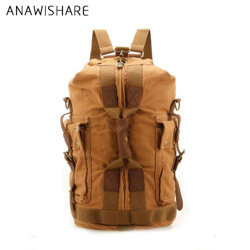 Anawishare Vintage Rucksack Men Canvas Backpack Large Travel Bag Leather Laptop Backpacks School Bags For Teenagers G8