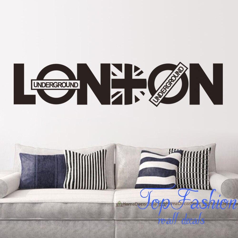 92*20cm London Vinyl Union Jack Art Wall Sticker Home Decor Quote UK  Removable Decals