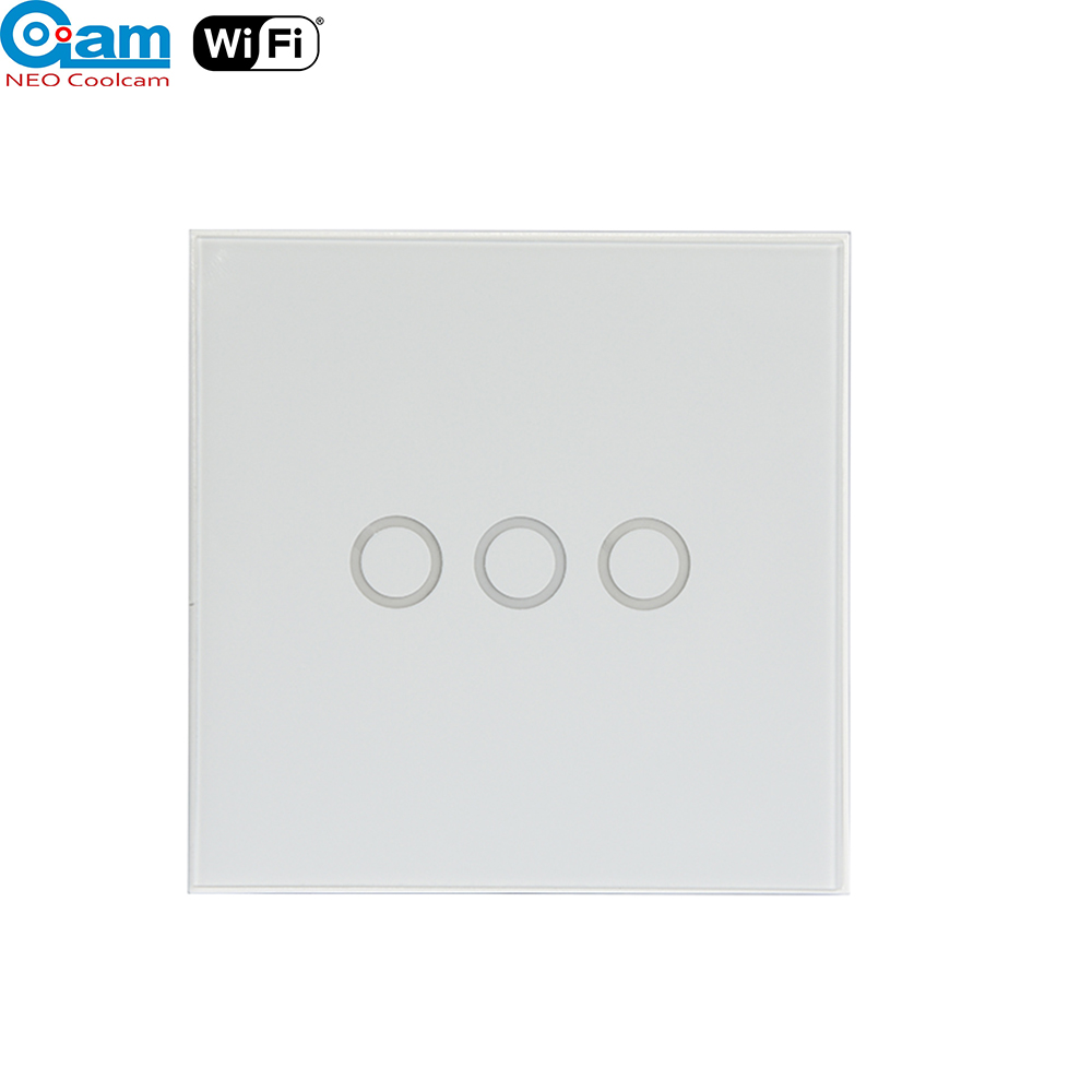 NEO Coolcam Smart Wifi Wall Light Switch 3 Gang Touch/WiFi Remote Smart Home Wall Touch Switch Support Alexa,Google Home,IFTTT opwt 001 1 2 3 gang wifi touch wall switch wifi wall switch smart home remote control switch support amazon alexa google home