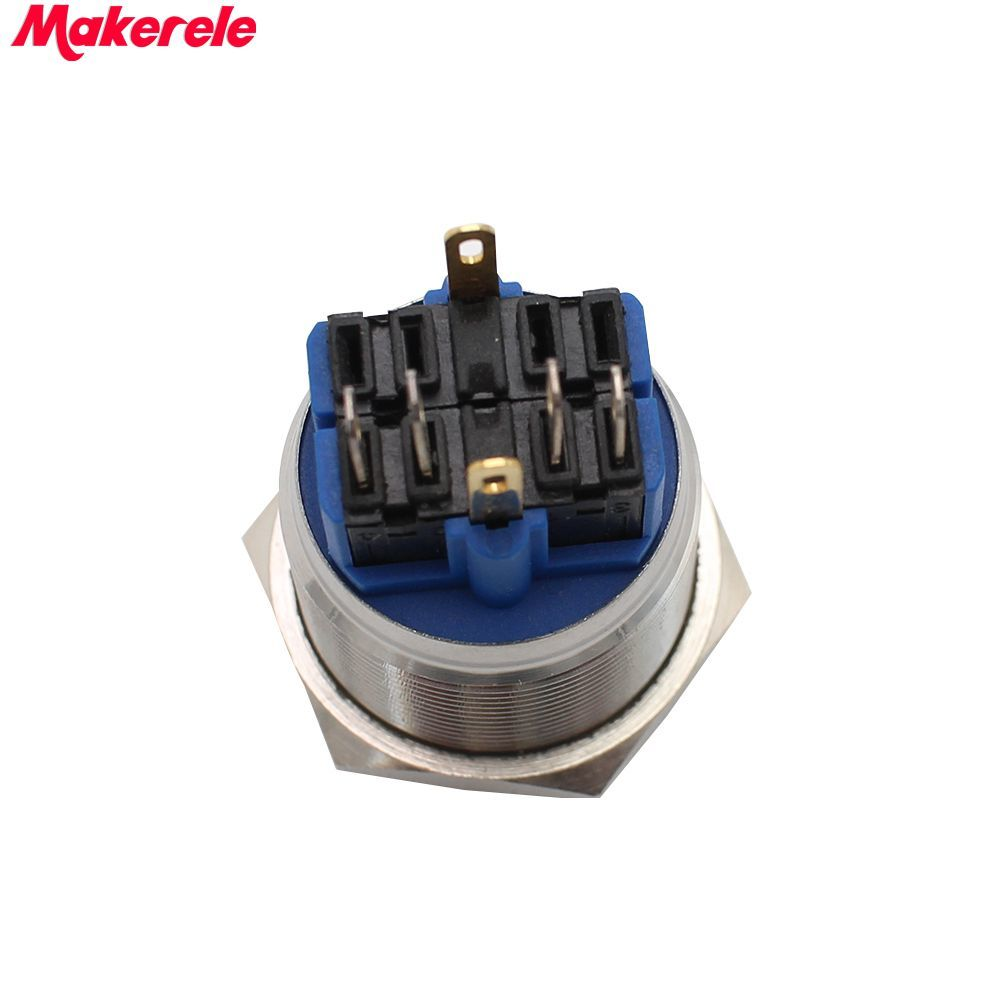 25mm DC12V Red LED Momentary Stainless Steel Push Button Switch 1NO 1NC IP67