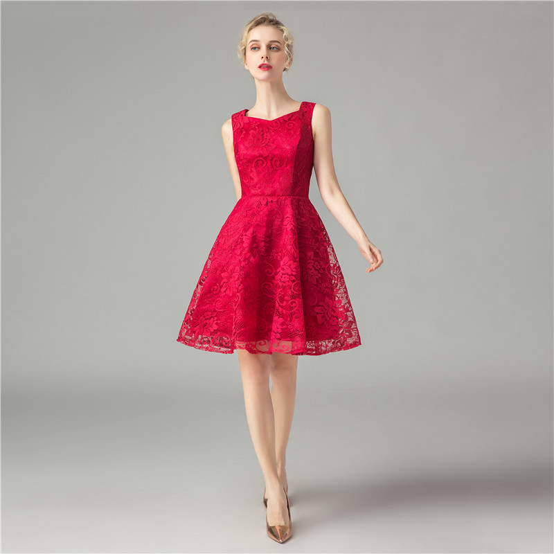 Red Lace Satin   Cocktail     Dress   Above Knee Length Formal   Dress   Elegant   Cocktail     Dresses   Elegant Homecoming Graduation   Dresses