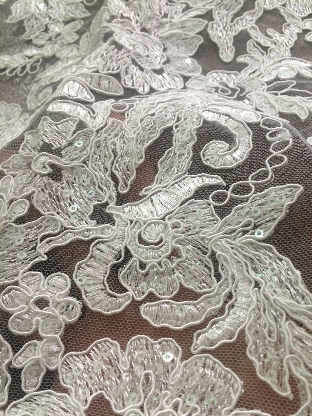 Fashion embroidered In Switzerland New Arrival LJY 6910 African Cord Net Lace Fabric with sequins for wedding-in Lace from Home & Garden    3