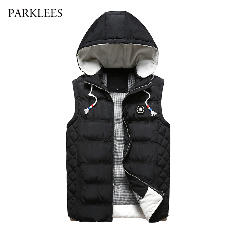 New Sleeveless Hooded Vest Men 2017 Winter Fashion Cotton-Padded Down Vest For Men Gilet Homme Casual Thicken Mens Warm Vests