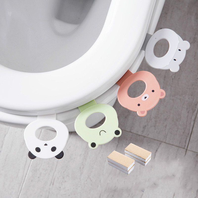 1pc Plastic Toilet Seat Cover Lifters Cartoon Portable Handle Toilet Closet Sticks Holders Toilet Lid Opener Household Supplies